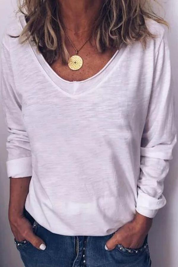 Casual Long Sleeves Solid V Neck Loose T-shirts