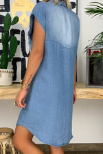 Casual Solid Pockets Lapel Collar Midi Dress