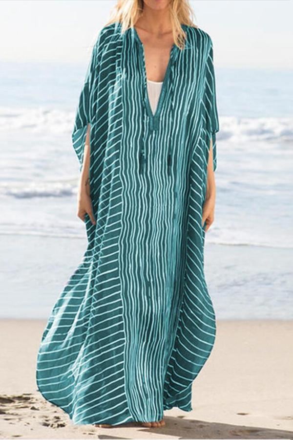 V  Neck Stripe Print Loose Maxi Dress