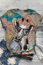 Vintage Cartoon Giraffe Floral Print Paneled Crew Neck T-shirt