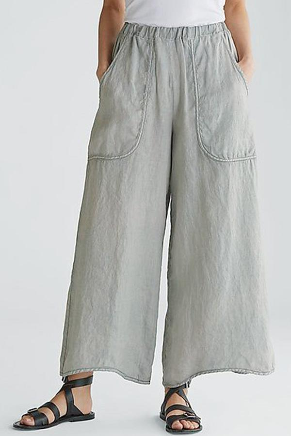 Linen Pocket Wide Leg Pants