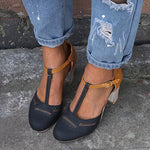 Vintage Color-block Sandals Casual Chunky Buckle Heels