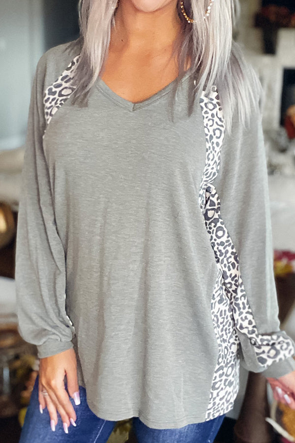 Color-block Leopard Print Casual Paneled Crew Neck T-shirt