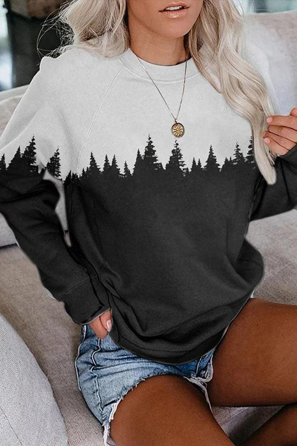 Color-block Treetop Forest Jacquard Paneled Casual Sweatshirt