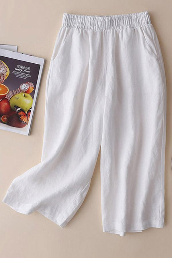 Linen Loose Solid Plus Size Pants