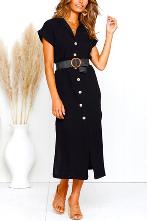Solid Buttons Down Paneled Elegant Slit Midi Dress