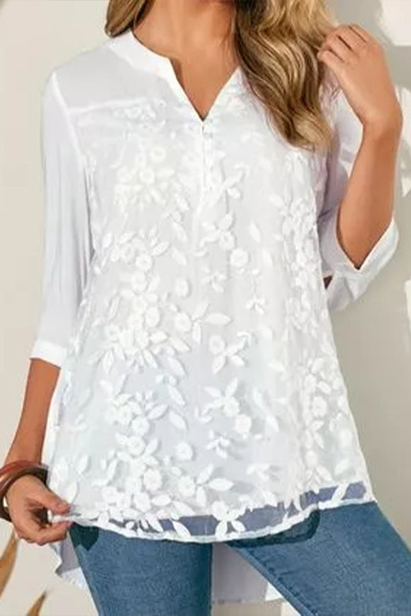 Floral Embroidery Buttoned V-neck High Low Vintage Blouse