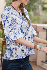 Elegant Floral Print Paneled Hollow Out Bell Sleeves Blouse