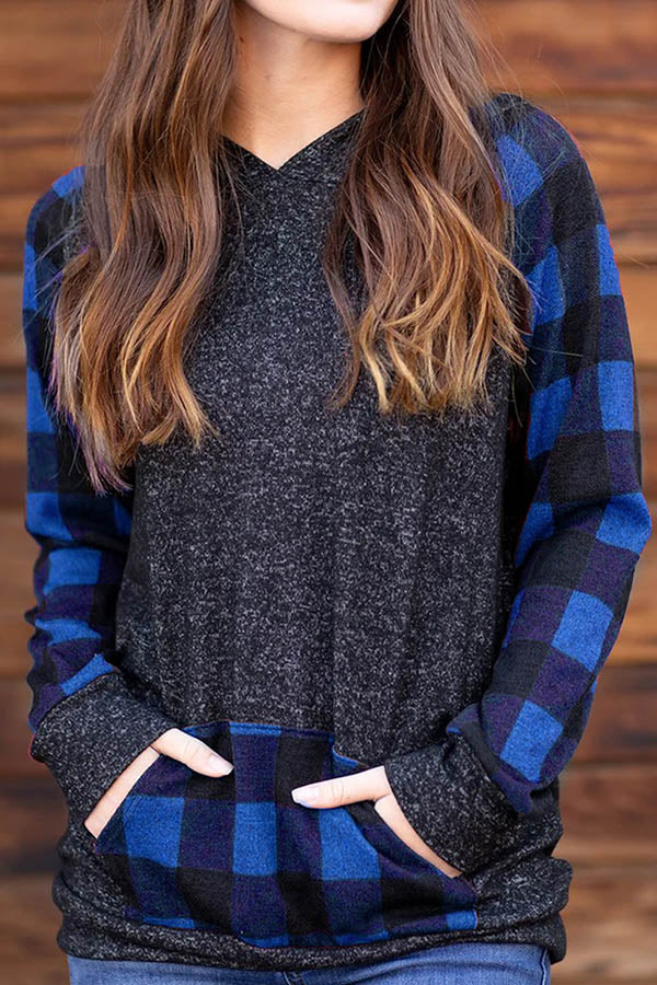 Sports Plaid Print Pocket Front Color Block Hoodie