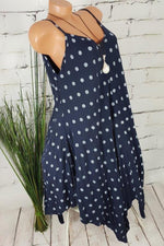 Polka Dot Print Sling Holiday Irregular Midi Dress