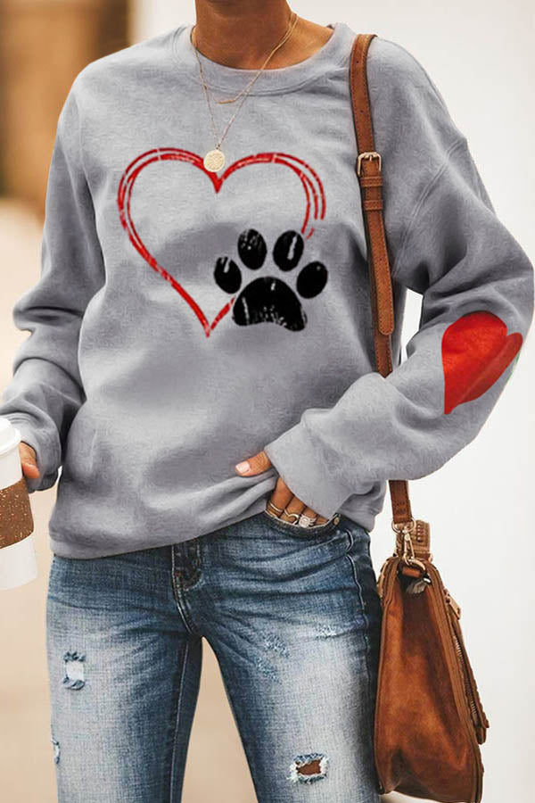 Heart Paw Print Casual Crew Neck Long Sleeves Sweatshirt