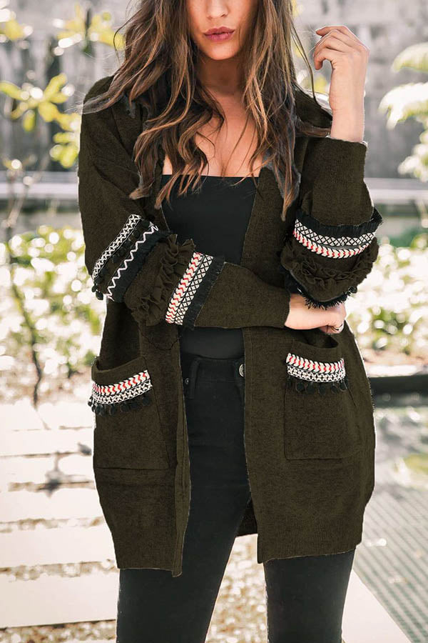 Open Front Ruffled Tassel Striped Jacquard Paneled Pockets Knitted Coat