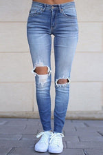 Paneled Gradient Cutout Pockets Casual Jeans