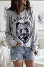 Cotton Bear Letter Long Sleeves T-shirts