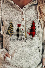 Christmas Tree With Leopard Plaid Pattern Letter Print Buttoned Hoodie
