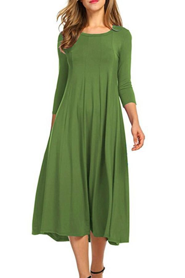 Crew Neck Solid  Casual Midi Dress