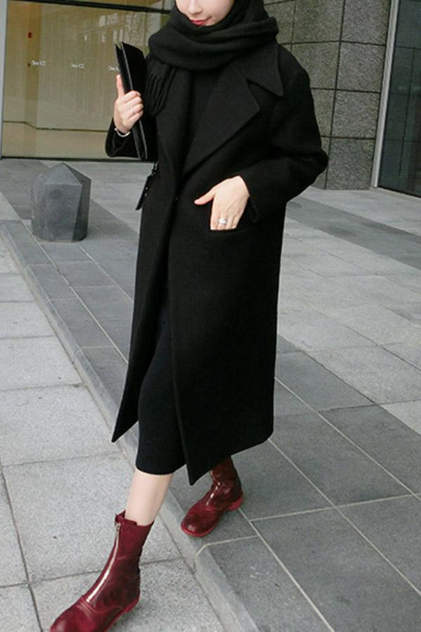 Solid Long Sleeves Pockets Loose Coat