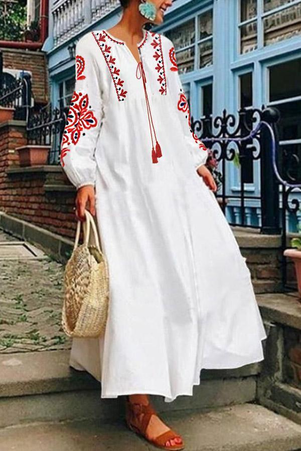Embroidery Fringed Holiday Linen Maxi Dress