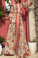Floral Round Neck Mid Waist Holiday Maxi Dress