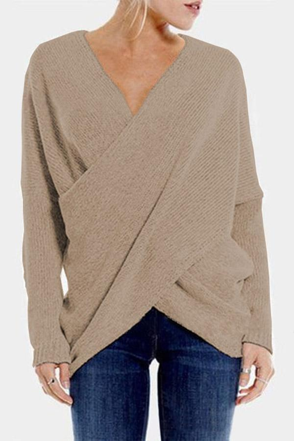 V Neck Solid Irregular Fold Sweaters
