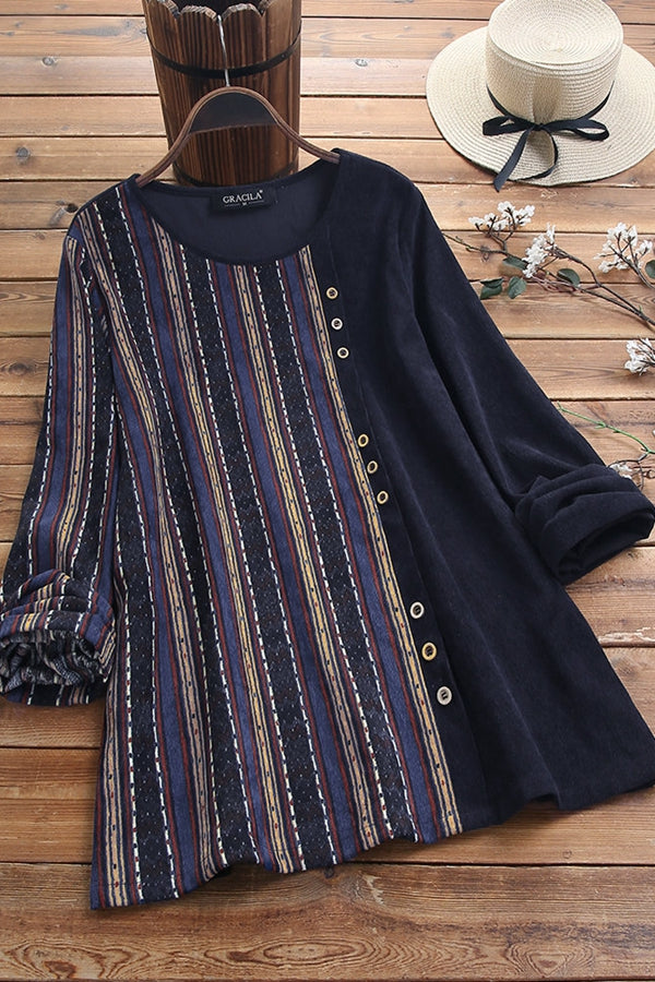 Vintage Casual Stripe Long Sleeves Shirt