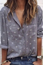 Polka Dot Notch Collar Casual Blouse