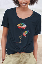 Casual Print Flower Round Neck T Shirt