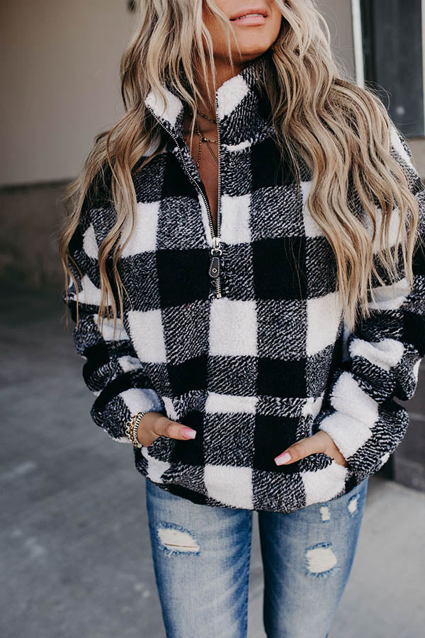 Black And White Plaid Jacquard Zipper Front Stand Collar Women Street Sweatshirt