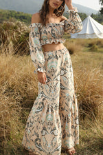 Bohemian Floral Print Blouse With Pants Two-pieces Set