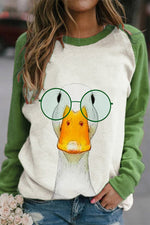 Lovely Cartoon Funny Duck With Glasses Print Color-block Raglan Sleeves T-shirt