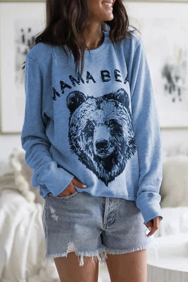 Casual Round Print Long Sleeves T Shirt