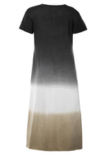 Gradient Letter Print Paneled V-neck Color-block Maxi Dress
