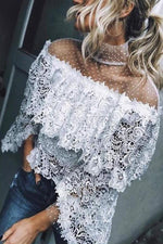 Elegant Paneled Floral Lace Hollow Out Batwing Blouse