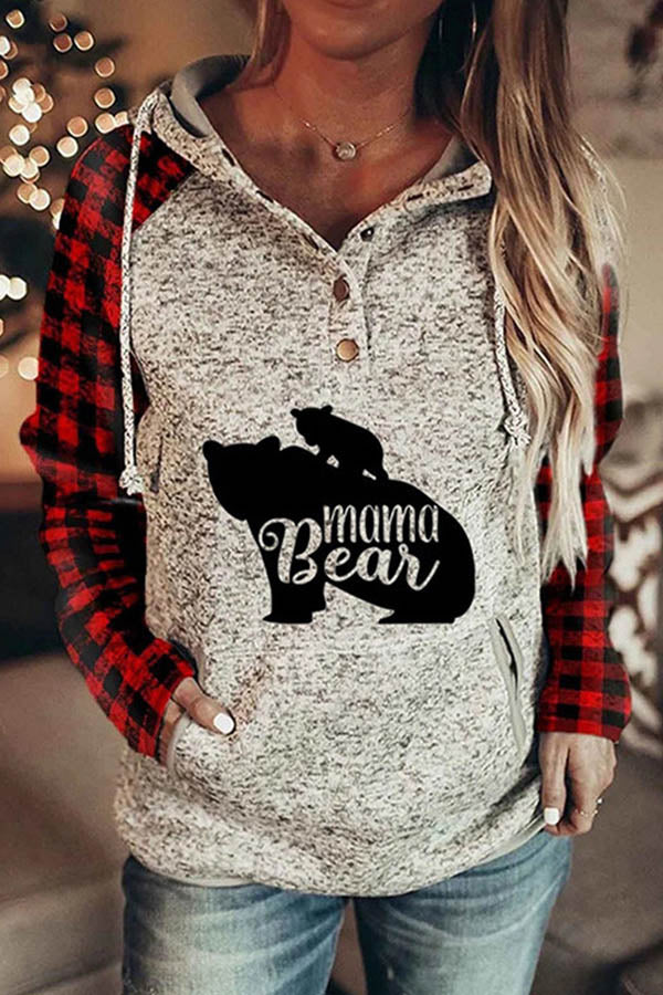 Mama Bear Letter Animal Plaid Print Drawstring Raglan Sleeves Pocket Color Block Sports Hoodie