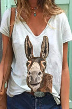 Cartoon Donkey Print V-neck Short Sleeves Casual T-shirt