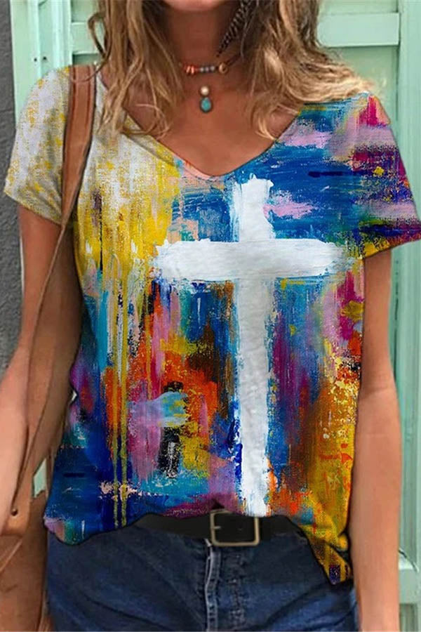 Artistic Cross Gradient Print Colorful Shift T-shirt