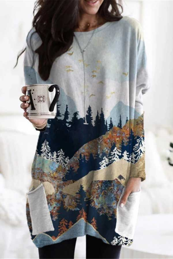 Mountain Forest Landscape Print Holiday Paneled Pockets T-shirt
