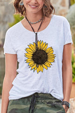 Casual Print  Sunflower Short Sleeves T Shirt