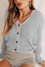 Casual Hollow Out Buttons Down Knitted Sweater