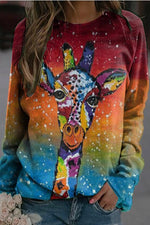 Artistic Colorful Lively Deer Gradient Print Raglan Sleeves T-shirt
