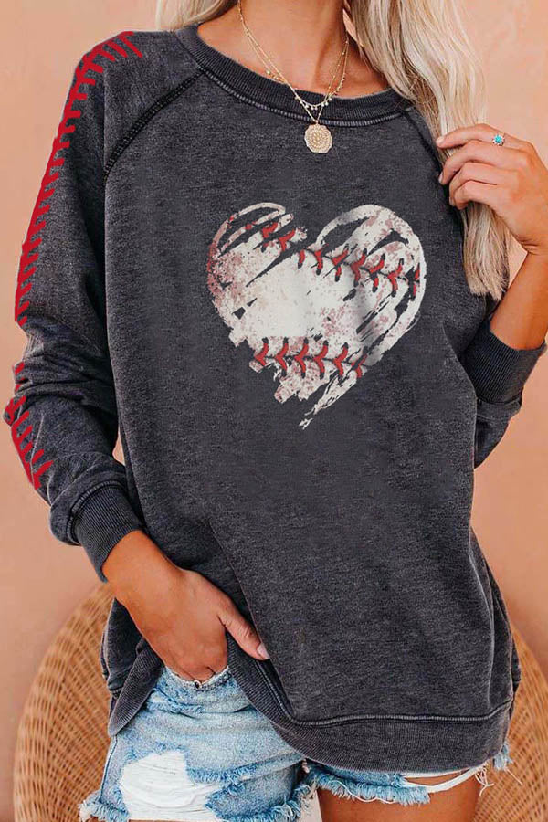 Street Casual Heart Shape Baseball Pattern Print Raglan Sleeves T-shirt