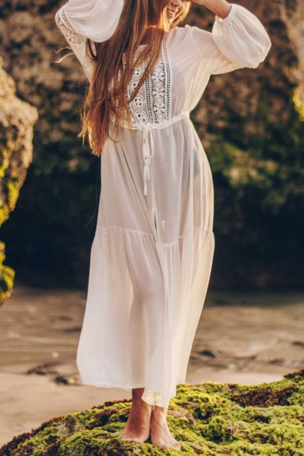 Paneled Lace Hollow Out Beach Maxi Dress