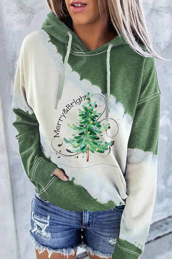Merry And Bright Letter Gradient Green Christmas Tree Print Color-block Street Hoodie