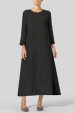 Vintage Long Sleeves Side Pocket Maxi Dress
