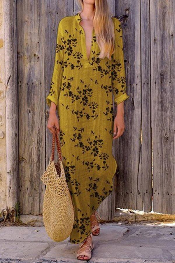 Casual V Neck Floral Printed Maxi Dress