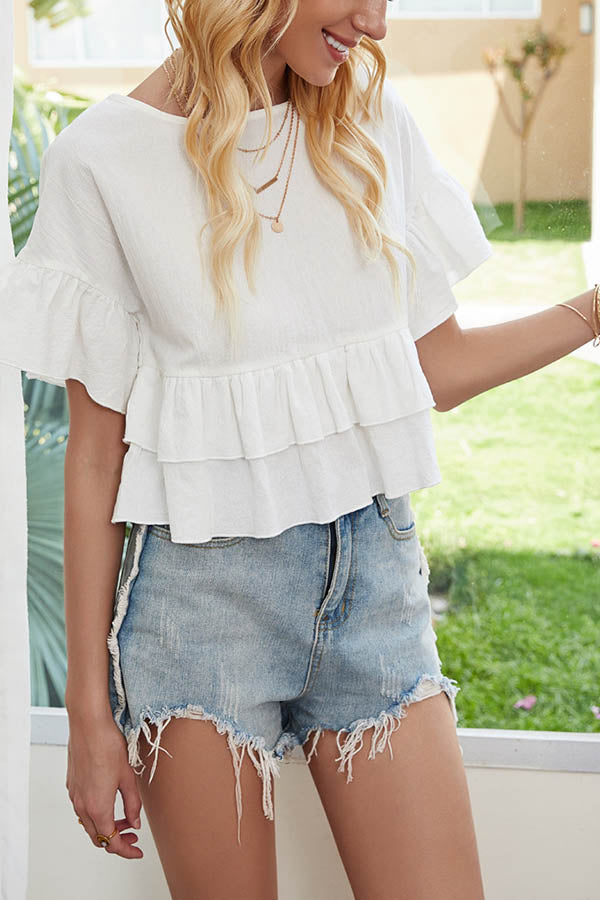 Casual Solid Paneled Ruffled Trim Bell Sleeves Blouse