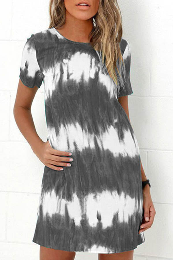 Casual Gradient Print Paneled Short Sleeves Crew Neck Mini Dress