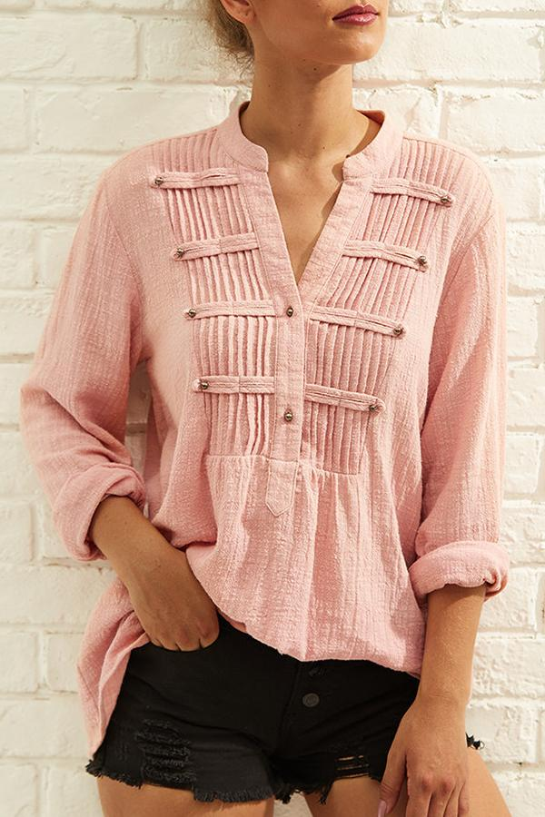 Cotton Pleated Buttoned Blouses