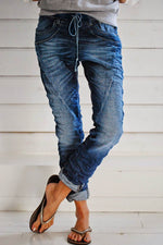 Casual Paneled Solid Side Pockets Self-tie Jeans