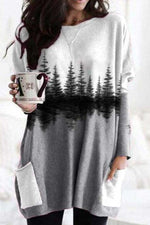Sweety Holiday Nature Landscape Forest Treetop Print Pockets Color-block T-shirt
